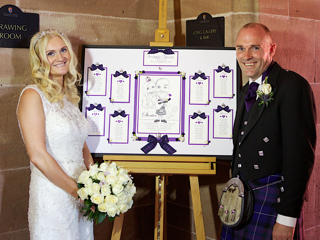 Scottish 7 English Wedding Table Plan with Cartoon.