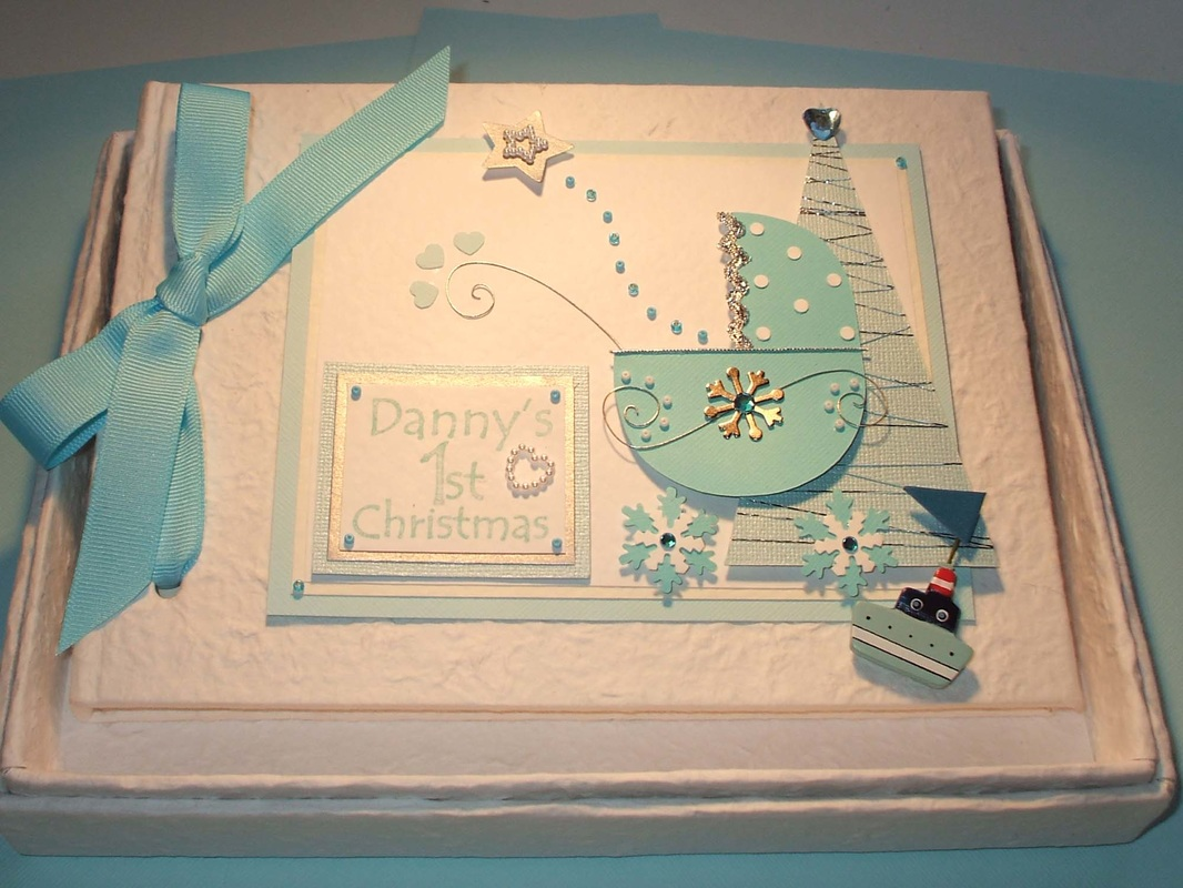 Baby Boy's 1st Christmas Keepsake Memory Book. Personalised.
