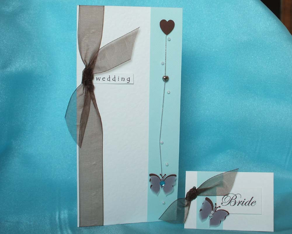 Duck Egg Wedding Stationery with Butterfly.