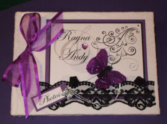 Vintage Style Keepsake Memory Book with Lace & Butterfly. Personalised.