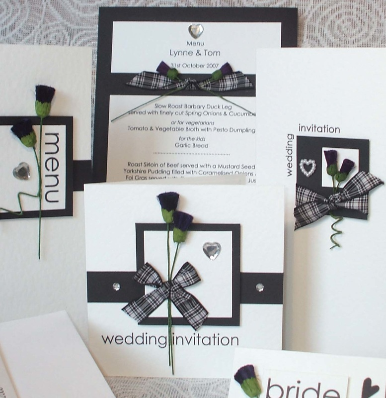 Sottish & English Wedding Stationery for Post, Table & Venue.