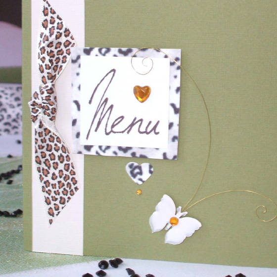 Catwalk Designer Wedding Menu with Leopard Print & Handmade Butterfly.