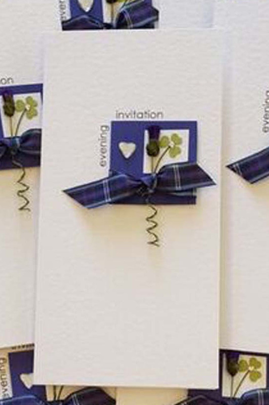Irish Scottish Wedding Invitation with Shamrock. Choose your own tartan.