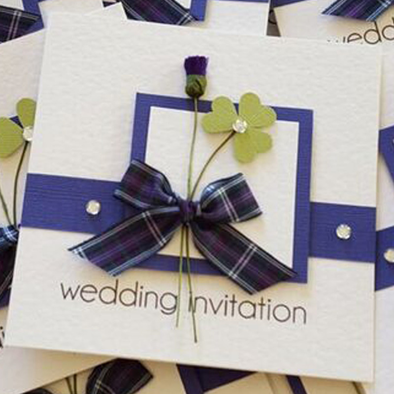 Celtic Wedding Invitation with Shamrock & Thistle.