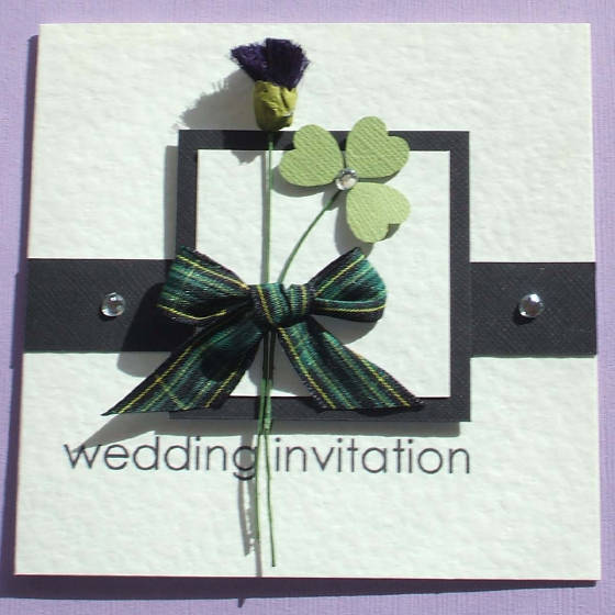 Scottish & Irish Wedding Invitation with Tartan, Thistle & Shamrock.