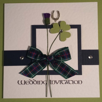 Invitations for scottish irish english american couples is one of you irish and the other scottish choose celtic connection with the thistle the shamrock add your own touches like a lucky horseshoe charm stopboris Image collections