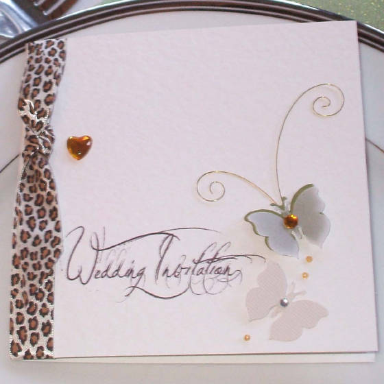 Catwalk Designer Wedding Invitation with Handmade Butterflies.