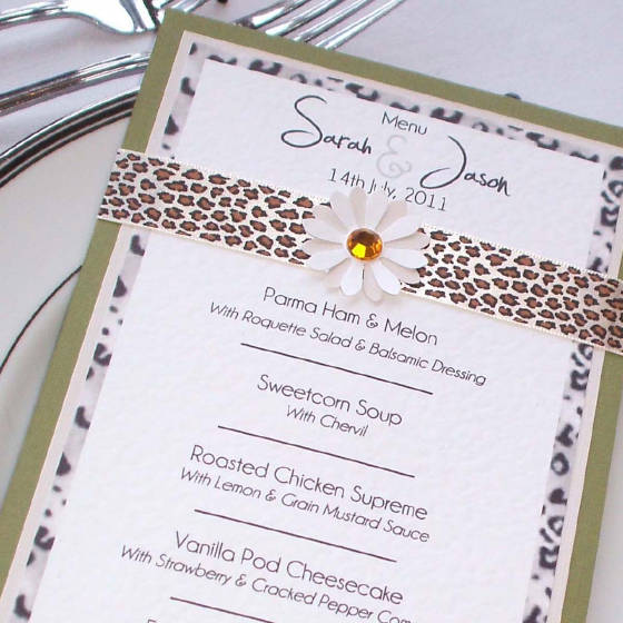Catwalk Designer Wedding Menu with Handmade Flowers.