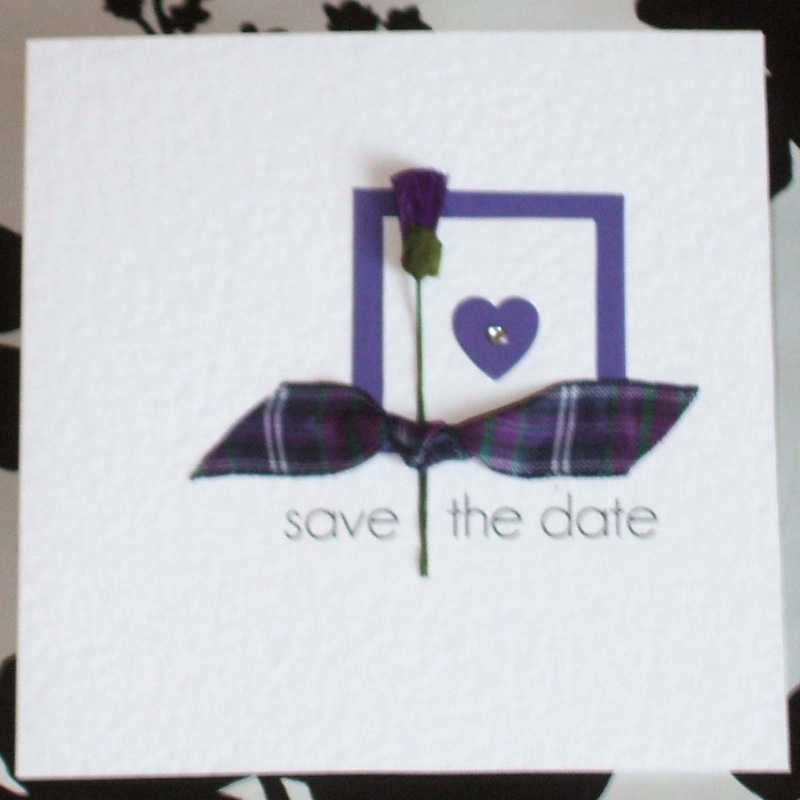 Scottish Wedding Save the Date with Tartan & Thistle.