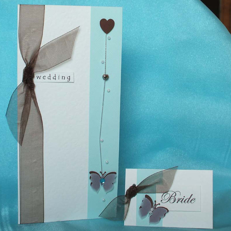 Duck Egg Blue Wedding Invitation with Butterfly. - Truly Madly Weddings