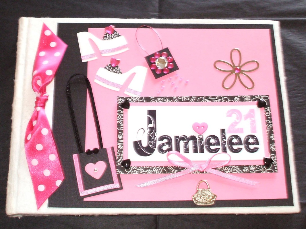 Female Keepsake Memory Book with Shoes & Bags. Personalised Name Tag.