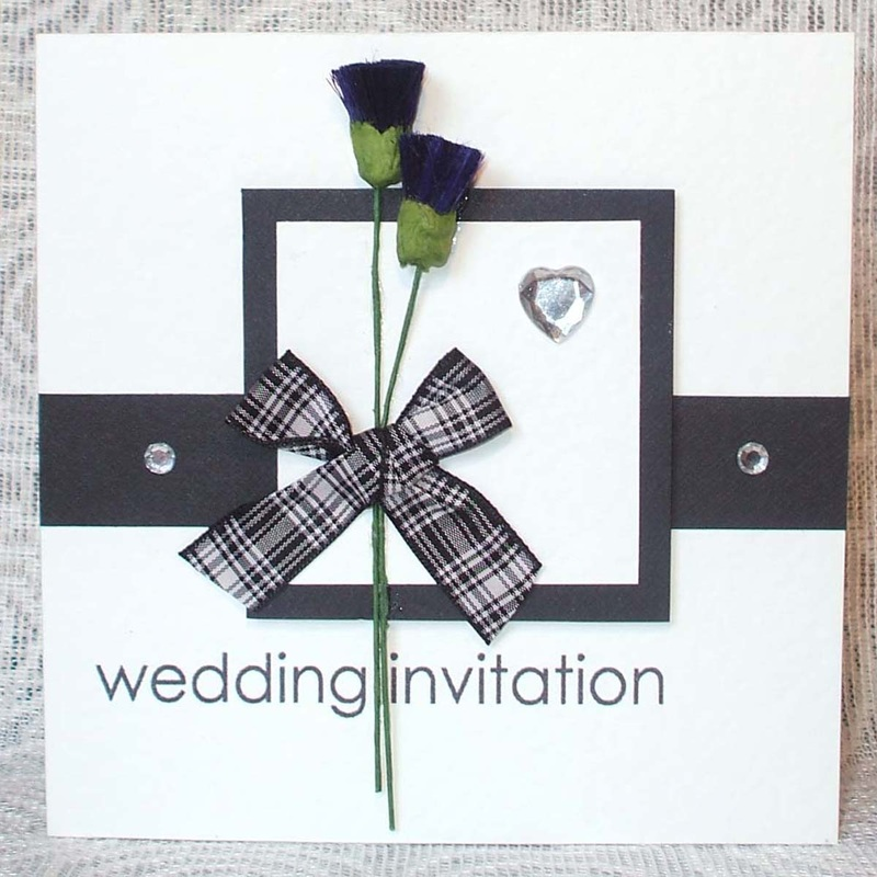 Handmade Scottish Wedding Invitation with Tartan & Thistles.