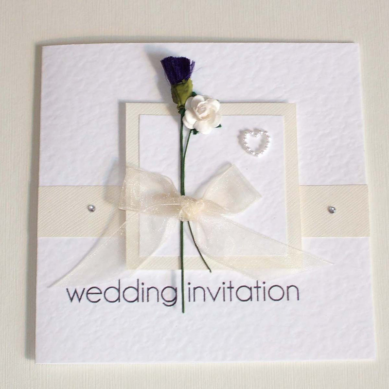 abdcabe5e75 English   Scottish Wedding Invitation with Thistle   Rose in Cream.