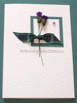 Scottish Wedding Budget Invitation with Thistles & Tartan.