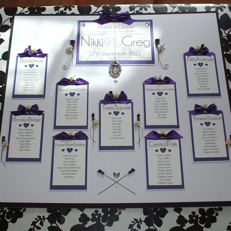 Scottish & American Wedding Table Plan. Statue of Liberty.