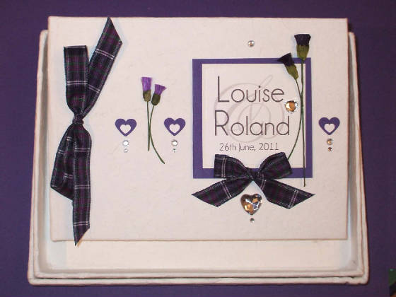 Scottish Wedding Guest Book with Tartan & Thistles.