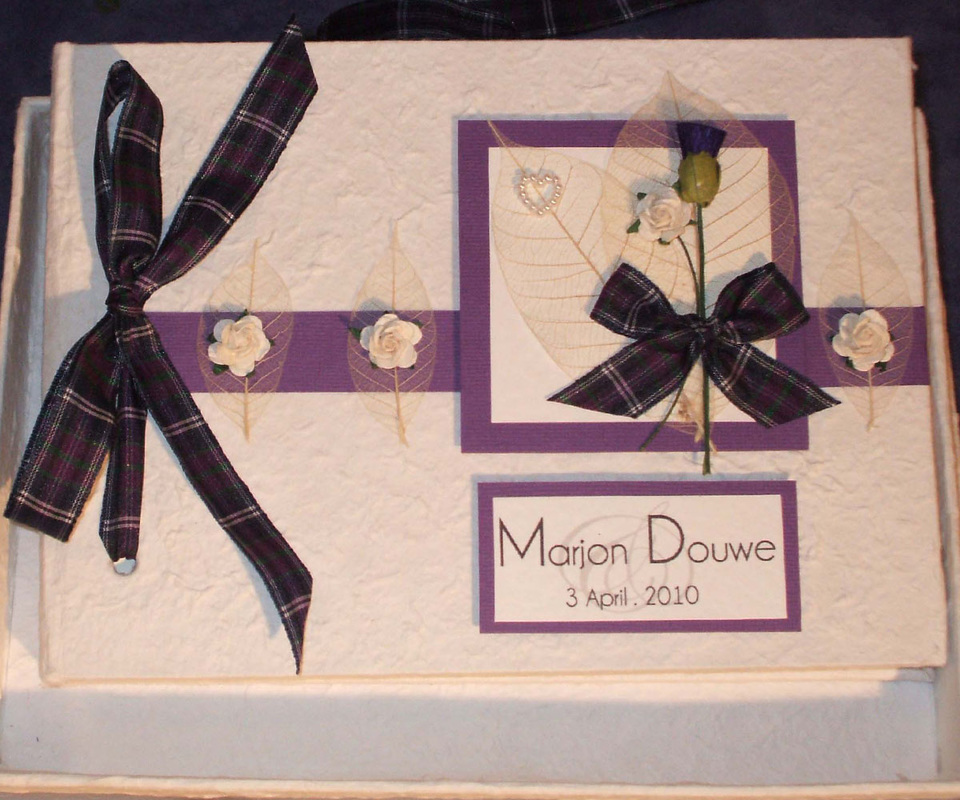 Scottish & English Wedding Guest Book, personalised for wedding gift.