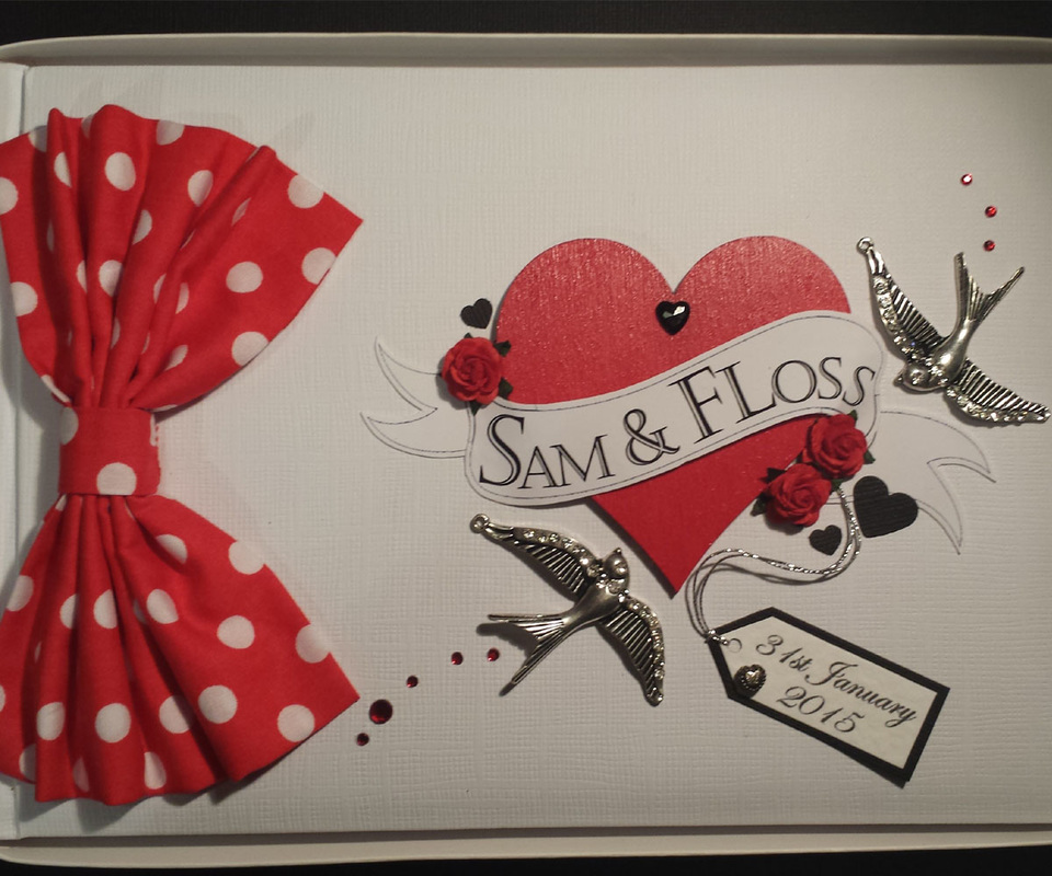 Tattoo style Wedding Guest Book, personalised for Wedding Gift.
