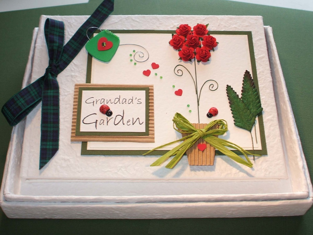 Garden Keepsake Memory Book with Roses & Personalised Name Tag.