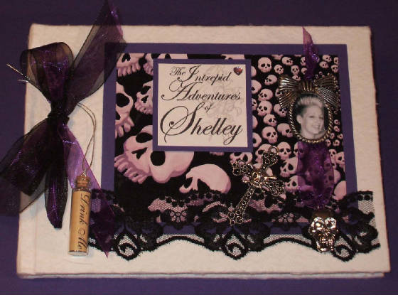 Unique Goth Style Keepsake Memory Book with Skulls, Lace & Cross.