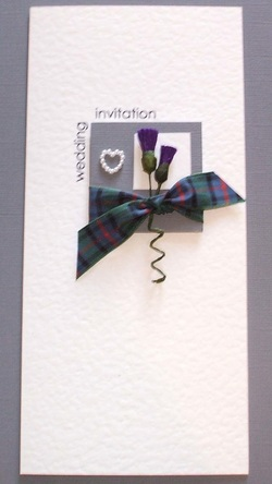 Scottish Wedding Invitation with Tartan, Thistles & Pearls.