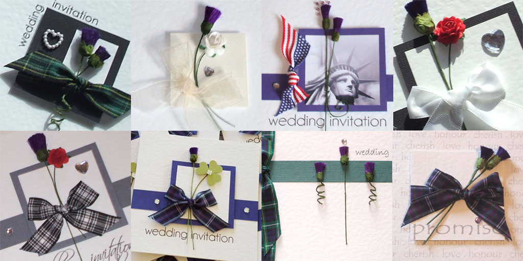 Discount Scottish & American / New York wedding invites with thistles, tartan, stars & stripes, statue of liberty.