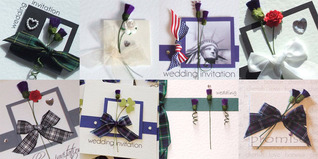 Discount Scottish & American wedding invites with tartan, thistles, roses, stars & stripes, statue of liberty, new york wedding.