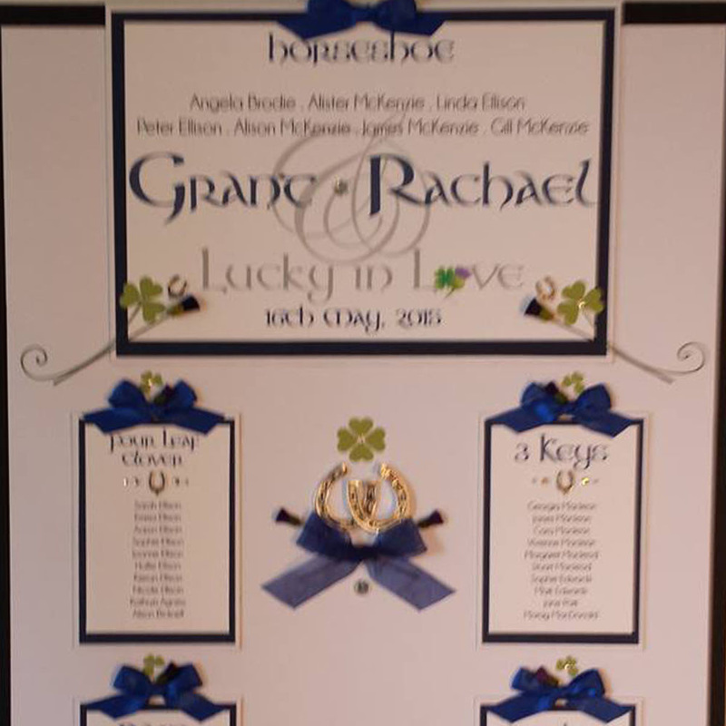 Celtic Wedding Table Plan with Luck Horseshoes, Shamrocks & Thistles.