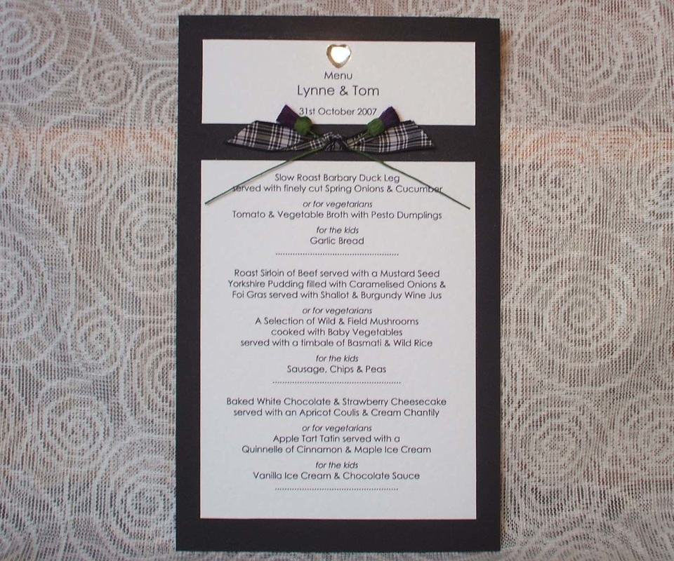 Scottish Wedding Menu with Tartan & Thistles.