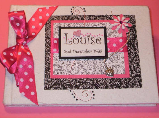 Pink Girly theme Keepsake Memory Book. Personalised.