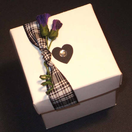 Scottish Wedding Favour Box with Tartan & Thistles.