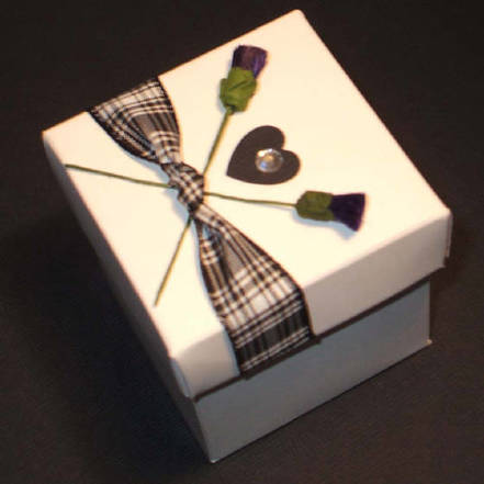 Scottish Wedding Favour Box with Tartan & Thistles