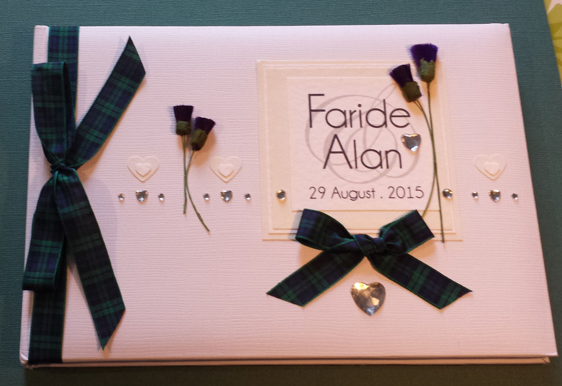 Scottish Wedding Guest Book with Thistles & Tartan.