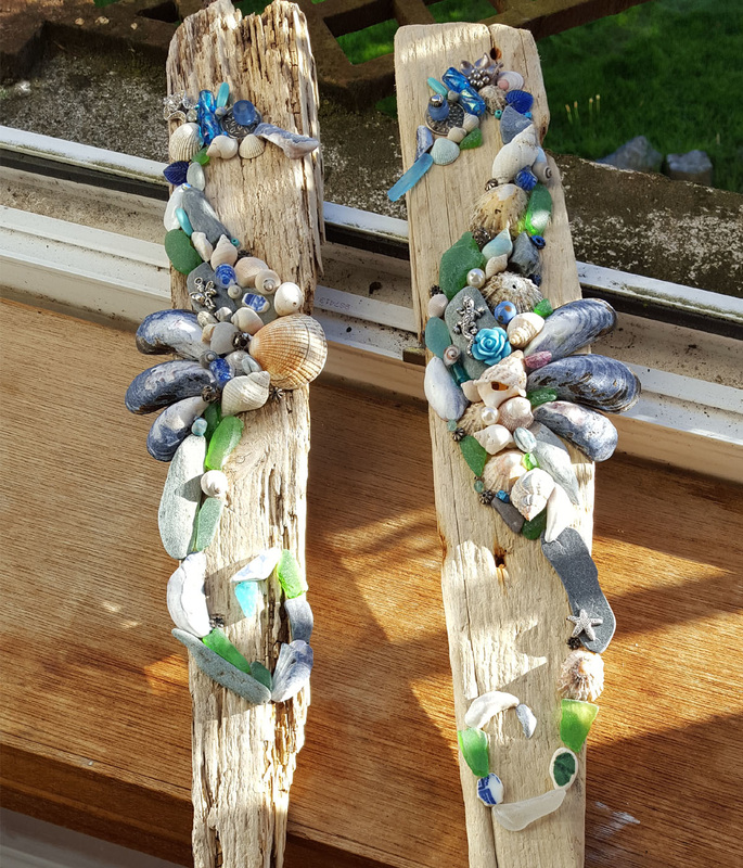 Driftwood Seahorses with Beachcombed Art.