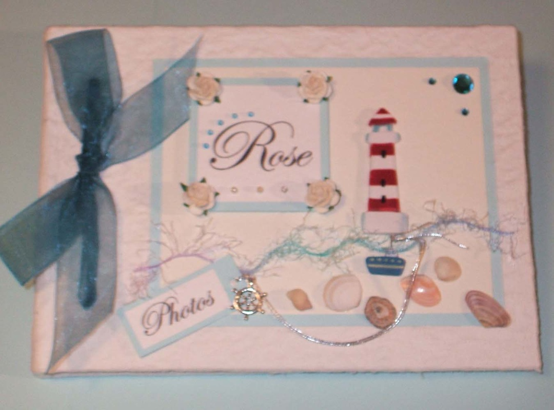 Personalised Keepsake Memory Book with Seaside Beach Theme.
