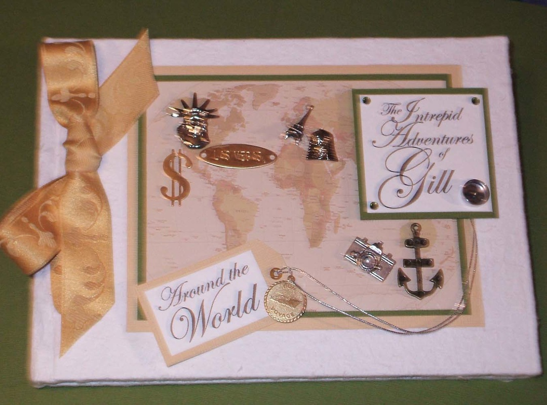 Travel theme Keepsake Memory Book with world map & charms. Personalised.