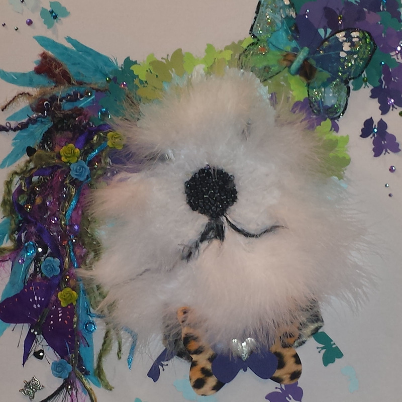 Chinese Crested Collage Art with Feathers & Butterflies.